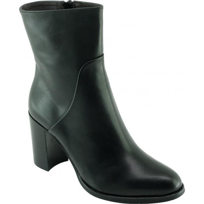 San Roca – Bottine talon haut chaussures luxe boots petites pointures petites tailles pour femme marque Plumers cuir patiné noir