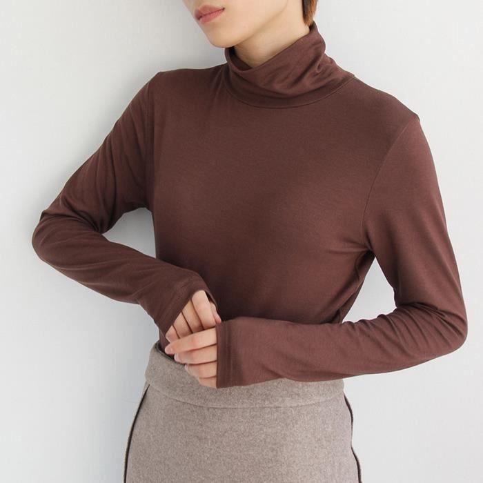 EOZY Sous pull Femme T-shirt à Manches Longues Col Rond en Coton Taille  Unique Chaud Automne Hiver c05756df6bc