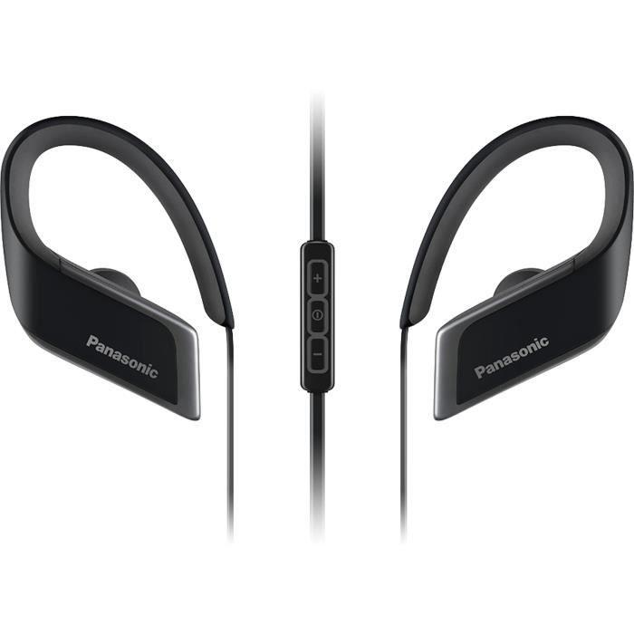 PANASONIC BTS30 Écouteurs Sport sans fil Bluetooth - 6h d'autonomie - Résistants à l'eau (IPX4) - Noir