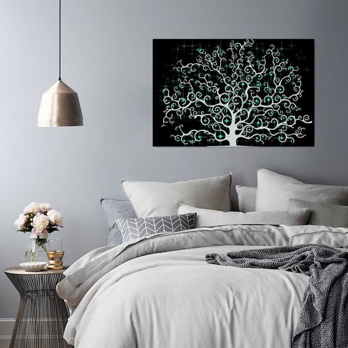 Tableau déco mural imprimé 40x50 MODERNE ABSTRACTION ARBRE NOIR ...