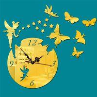 HORLOGE - PENDULE Horloge murale Butterfly Acrylique Muet DIY Pendul