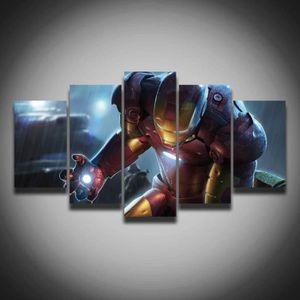 TABLEAU - TOILE 5 pieces posters Marvel Iron Man peinture sur toil