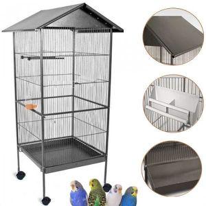 VOLIÈRE - CAGE OISEAU Volière cage à oiseaux avec toit 4 roues en métal 0ec88ae85843