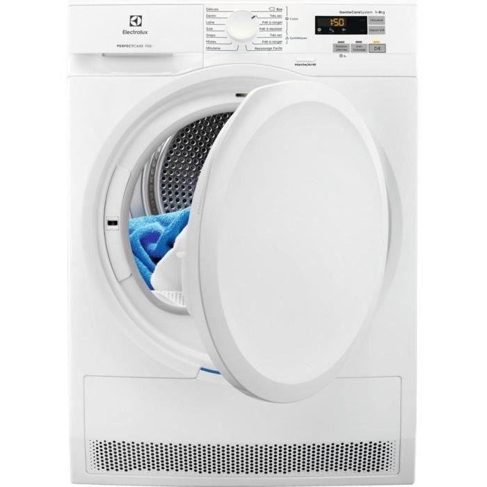 ELECTROLUX  - EW7H6812SC - Sèche-linge à condensation - Pompe à chaleur - 8 kg - A++ - Blanc