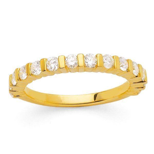 MONTE CARLO STAR - Demi-Alliance en Or Jaune 18 Carats et Diamants - Femme