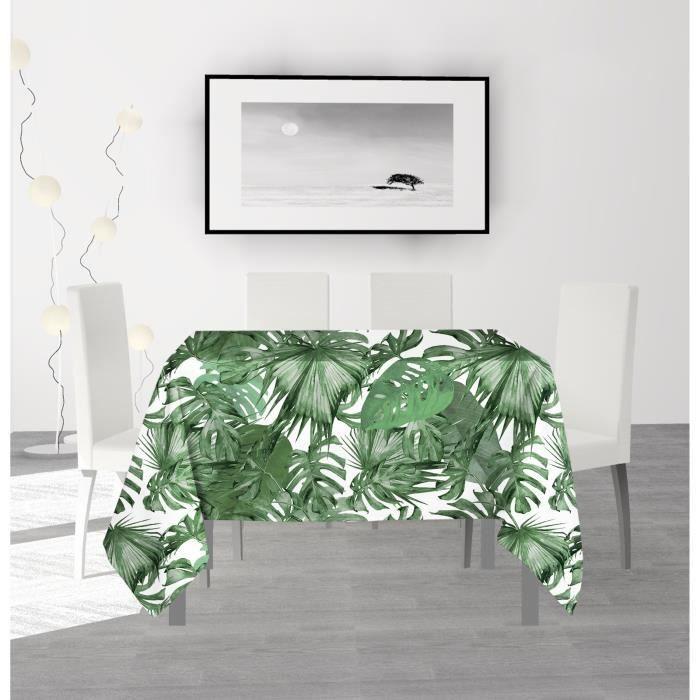 SOLEIL D'OCRE Nappe anti-tâches carrée Nouméa - 180 x 180 cm - Vert