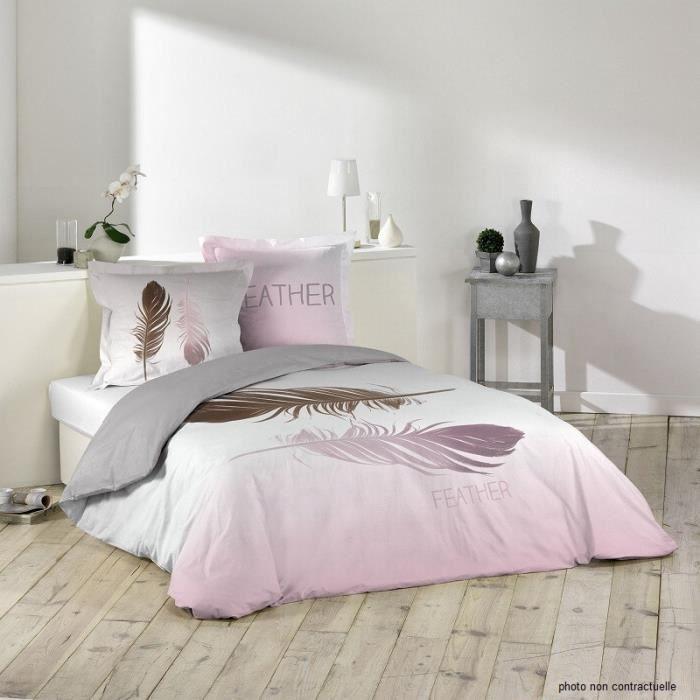 parure housse de couette 240x220 cm douce plume achat vente housse de couette cdiscount. Black Bedroom Furniture Sets. Home Design Ideas