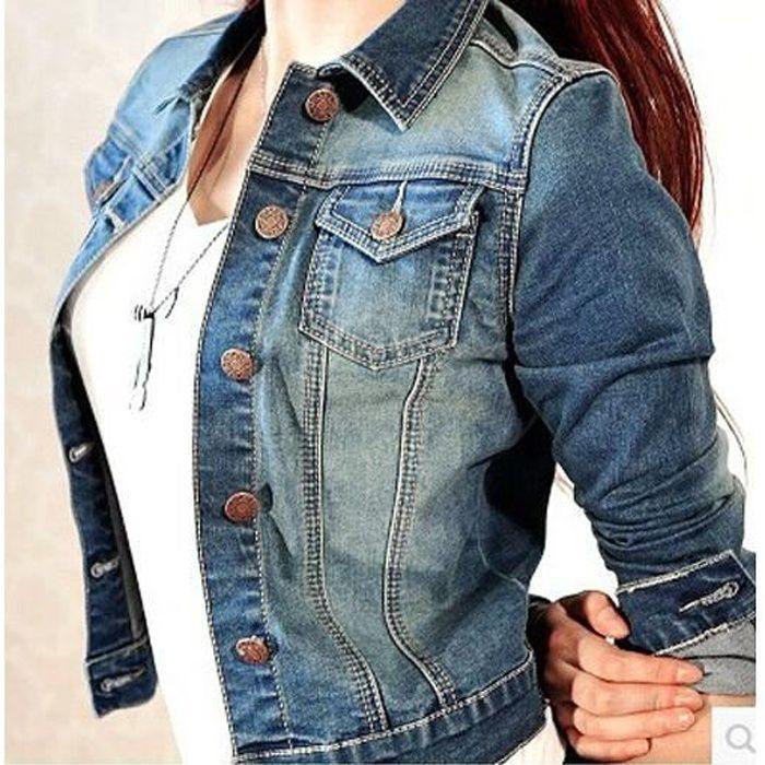 Veste femme courte en denim jeans jacket manche longue col u00e0 revers avec poches boutons u00e9lancu00e9 ...