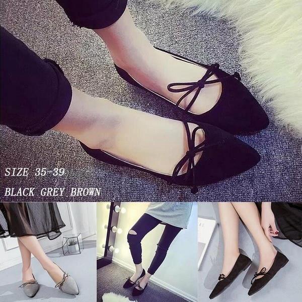 Femmes Mode bout pointu Casual bo noir 8noir 8 wknot Mocassins Chaussures de Ballet Flat