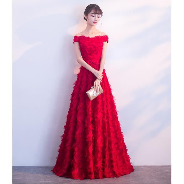 6e3d23fe389 Robe de Soirée sans Manche épaule plate femmes Pour Cérémonie Mariage Cocktail  Soirée Rouge WK573