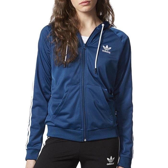 nouveaux prix plus bas dernière remise emballage élégant et robuste Sweat à capuche Slim Hoodie Bleu Femme Adidas