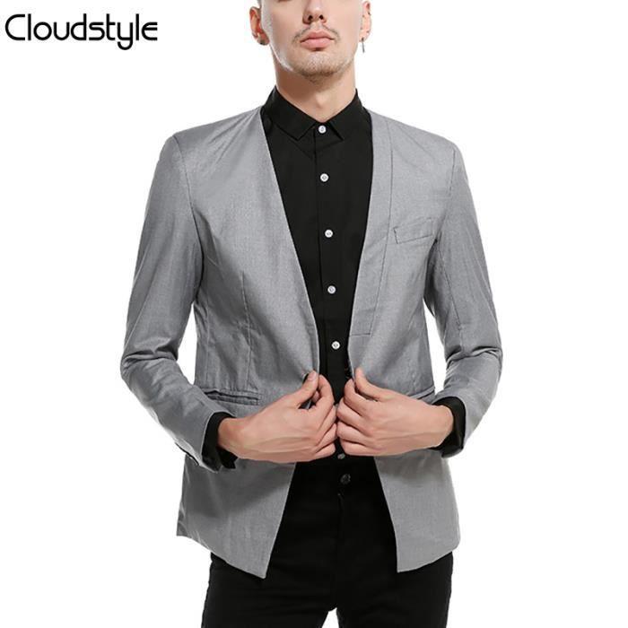 2018 nouvelle Veste de costume homme type blazer, mince, style casual sans  col design original structuré bac90fbf26c7