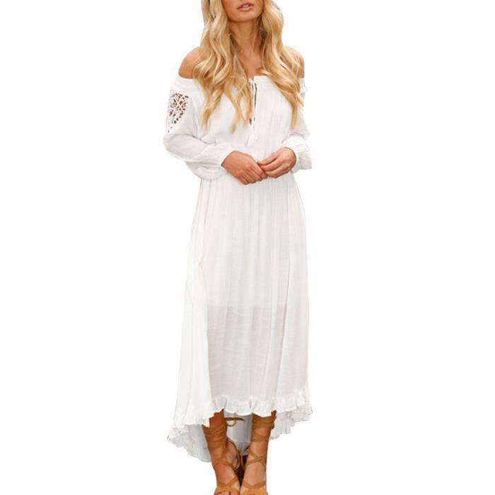Femmes Sexy Solid Off épaule Lace Up Patchwork bande élastique robe à manches longues @HCM80112175WH