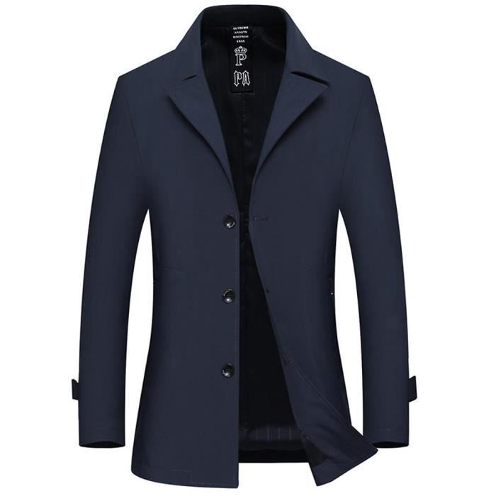 qualité stable où puis je acheter Quantité limitée Trench Coat Slim Fit Homme Manteau Mi Longue Printemps Veste Elegant  Couleur Unie
