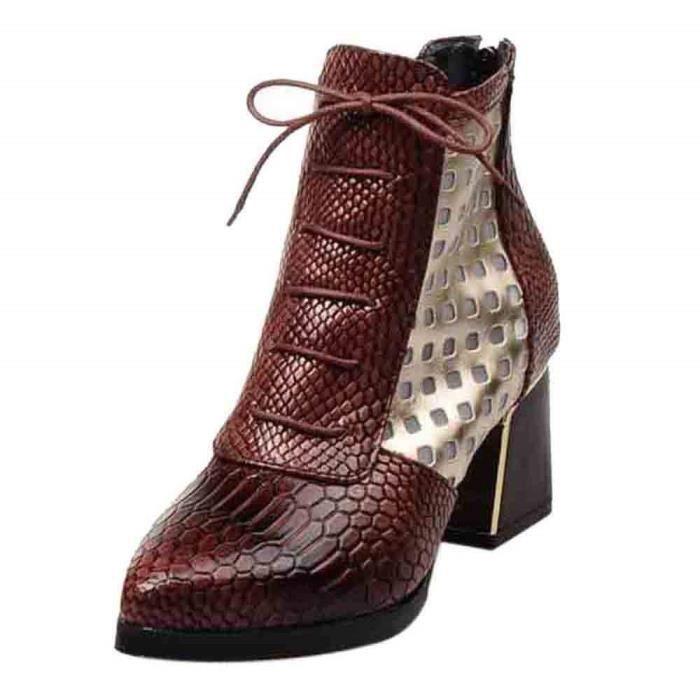 Original 2018 Bottes Talons Boots Confortable À Femme Design Cuir Hauts Avec Moyens Automne Chaussures Ville Semelle Bottines Hiver jUpGLqMzSV
