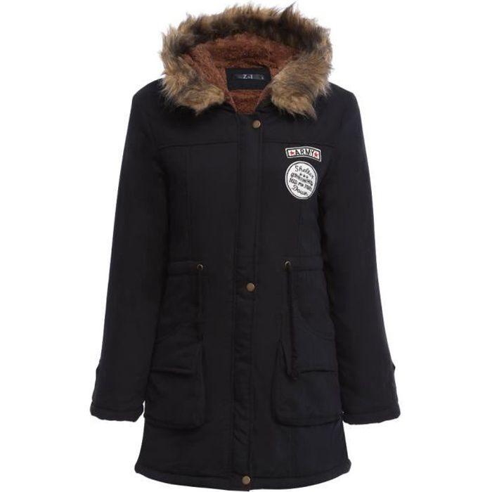 meilleures baskets 1ebdd 5fc6f Manteau laine avec capuche fourrure femme