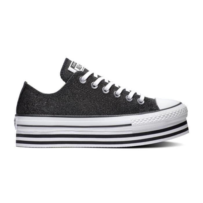 CONVERSE, Chuck taylor all star platform layer ox, Blackblackwhite