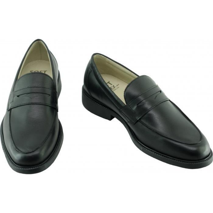 Bristol - Mocassin ville bout rond marque SOFT & FLEX.co by LEH chaussure Homme souple et confortable cuir noir