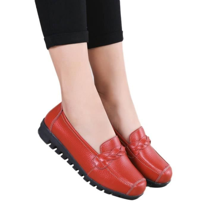 Loisirs Bateau Femmes Chaussures Cuir 2692 Pois Slip on Veberge Plates Toe Rondes Simples OUwS4qO