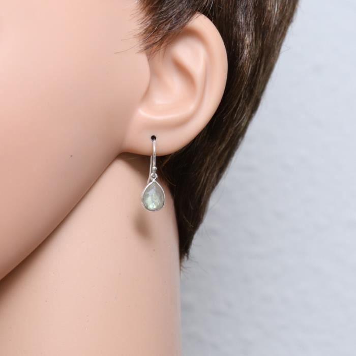 Boucles d oreilles Argent 925 Labradorite ref 44952 Gris