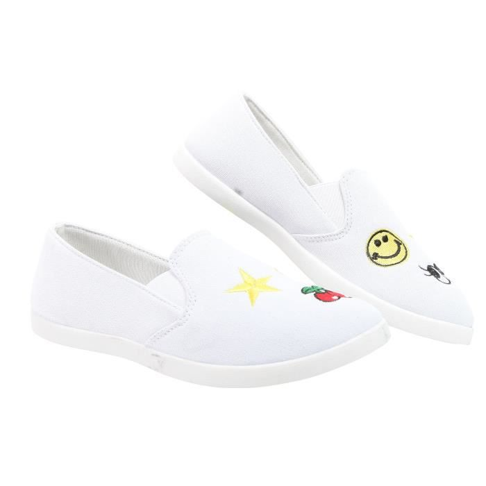 Chaussures Vibe Kim Femmes toile Casual Slip-on Sneaker avec des correctifs AFBSN Taille-39