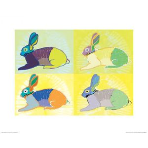 AFFICHE - POSTER Poster Reproduction Lapins - Rabbits Round The Clo