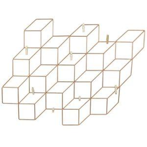 PÊLE-MÊLE PHOTO Pêle-mêle cube effet 3D - 8 pinces - Cuivré 40 cm