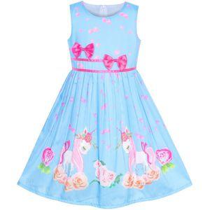 ef364752949 ROBE Sunny Fashion Robe Fille Bleu Licorne Fleur Été 4- ...