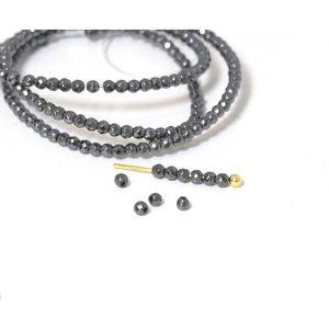 Perles 20 perles noires à facettes en hématite synthétiqu