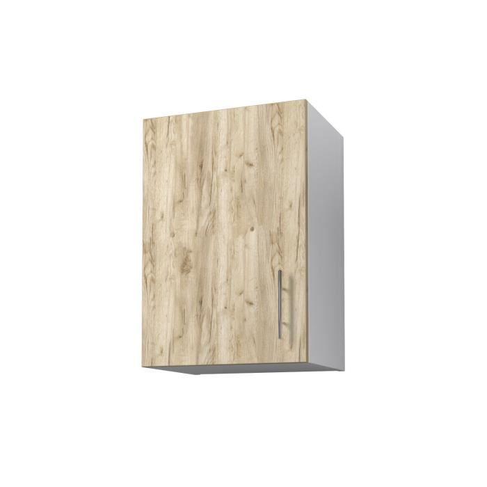 Panneaux de particules mélaminés - Décor chêne doré et blanc - L 40 x P 31 x H 58 cm - 1 porte verticaleELEMENTS SEPARES HAUT
