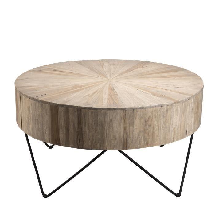 super populaire a37cf e99c7 Table basse ronde ethnique en bois teck massif naturel - Pieds épingles  scandi en métal - Ø90 cm