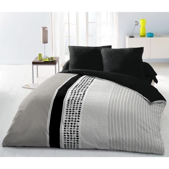Matière : 100% polyester - Dimensions : 220x240 cm/ 63x63 cm - Coloris : noir, gris et blancPARURE DE COUETTE