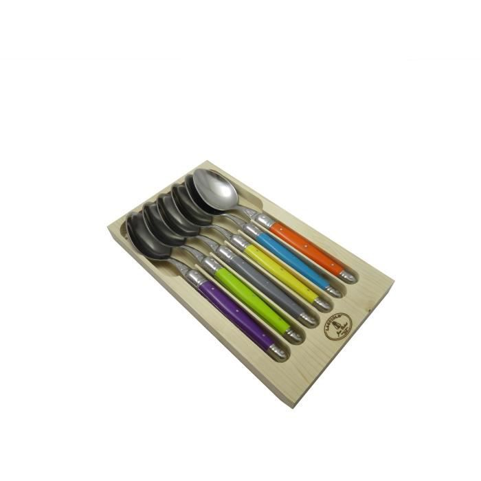 LAGUIOLE Lot de 6 cuillères de table - Inox - Manche ABS couleurs trendy