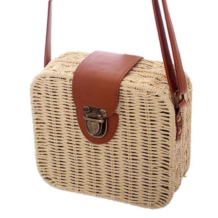 8c48ea1032 Couleur bonbons carré Sac de paille Petit simple sac à bandoulière sac à  bandoulière femmes Sac de plage - Beige