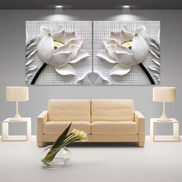 Moderne 3d blanc lotus haute définition images toile décoration peinture murale sans cadre 2 pièces