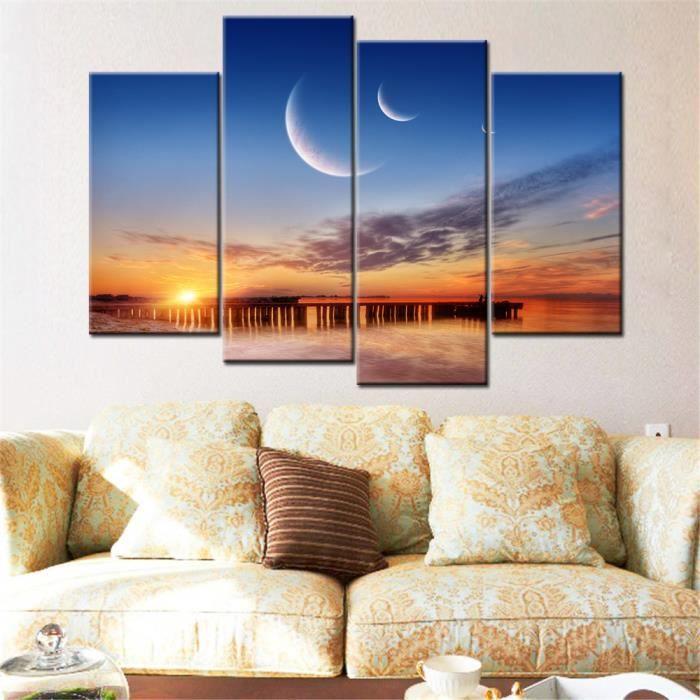 4 morceaux de toile déco maison moderne mur art sunset mer toiles ...