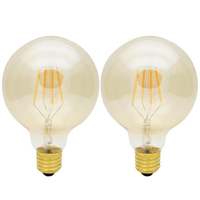 Beau 2X E27 Ampoule Edison Vintage Dimmable 4W Lampe à Filament LED Edison Retro  G95 Blanc Chaud 400LM Super Brillant Lampe Filament 220V