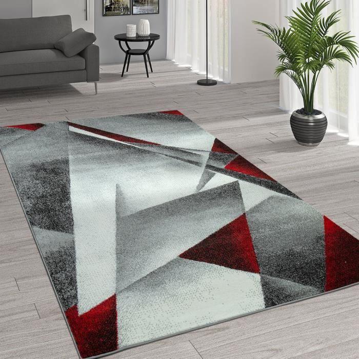 Tapis Moderne Motif Géométrique Gris Rouge 70x140 Cm Achat