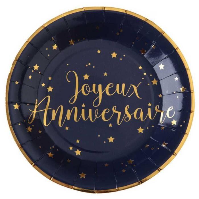 10 Assiettes Joyeux Anniversaire Bleu Marine Et Or Achat Vente