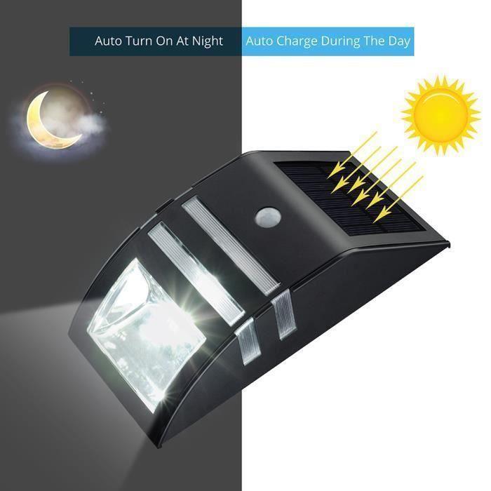 lampe solaire 3 led d tecteur de mouvement etanche d. Black Bedroom Furniture Sets. Home Design Ideas