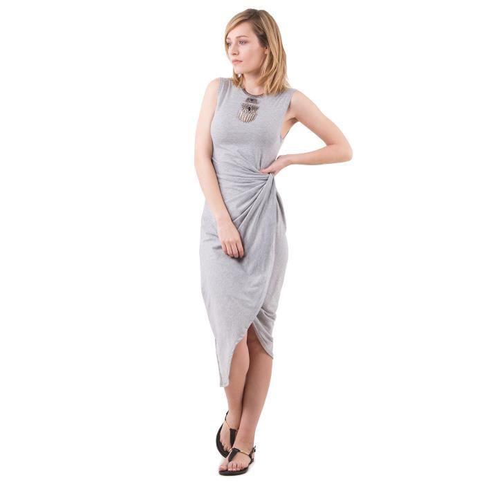 bbc9057c3fd Mim - Robe longue noeud Gris chiné Gris chiné - Achat   Vente robe ...