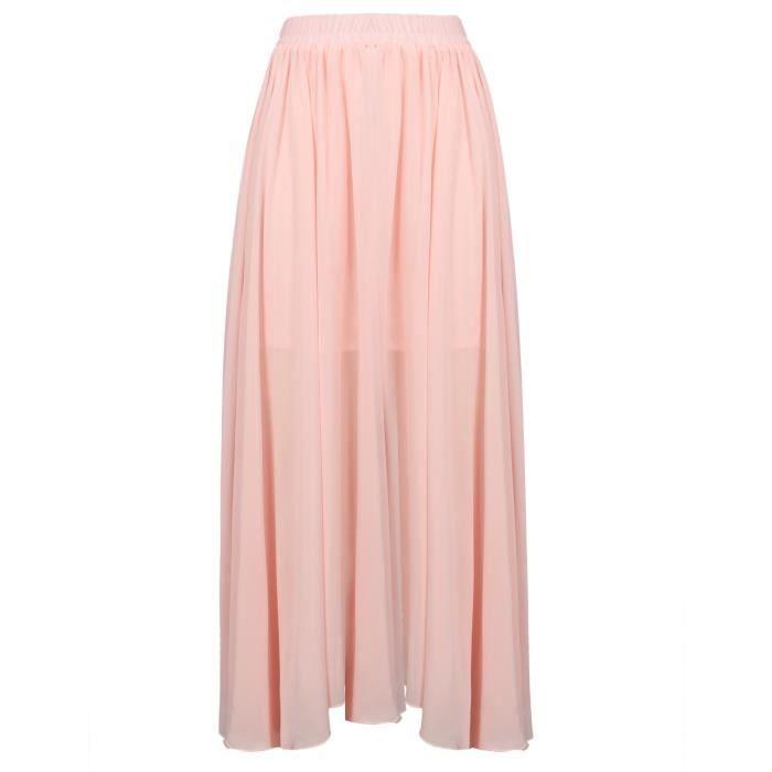 405a5e6e1a59f Mousseline de soie Maxi Jupes imprimé floral élastique taille haute jupe  longue Maxi 3YOKHX Taille-M