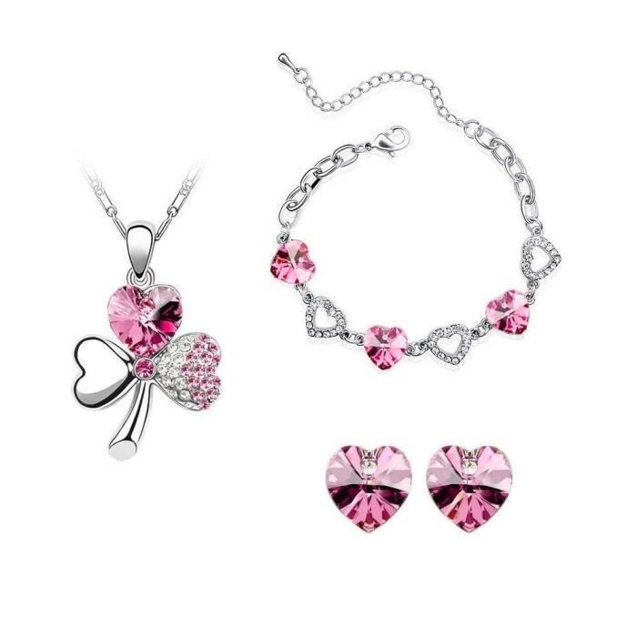 Parure trèfle et coeurs avec bracelet cristal swarovski elements plaqué or blanc Couleur Rose