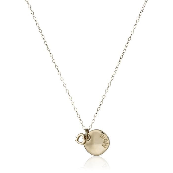 14k Yellow Gold Mom And Heart Disc Necklace, 17 QBPZ3