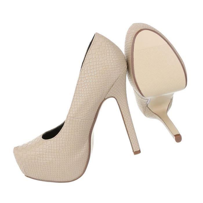 Femme escarpin chaussures Élégant High Heels Plateau beige 41