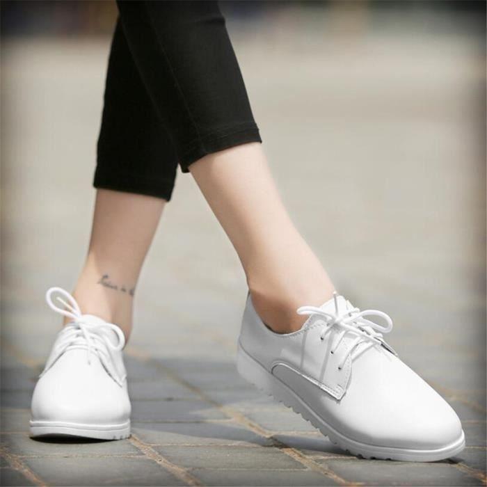 Chaussures Cuir Occasionnelles Femmes Comfortable Chaussure XZ042Blanc37 LKG qrCq50x