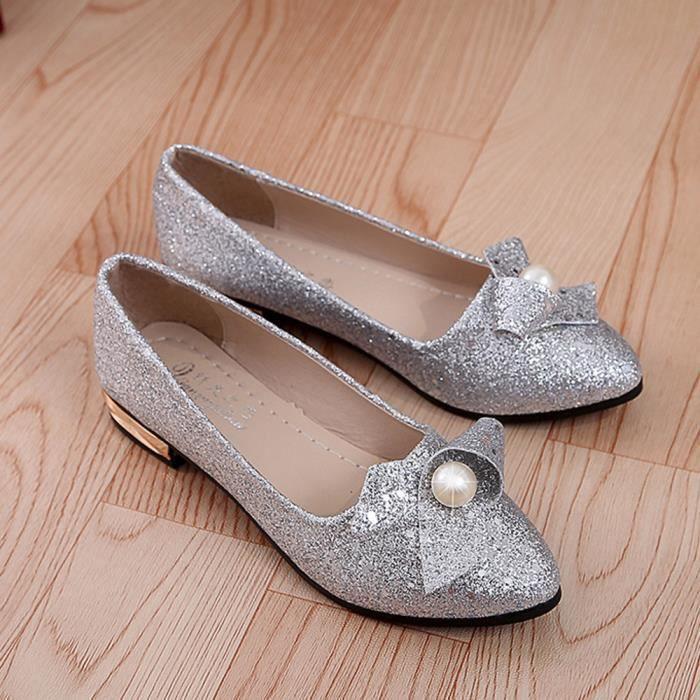 Napoulen®Femmes talon plein paillette Ballet Slip sur plats mocassins chaussures Argent-XYY70811512SL