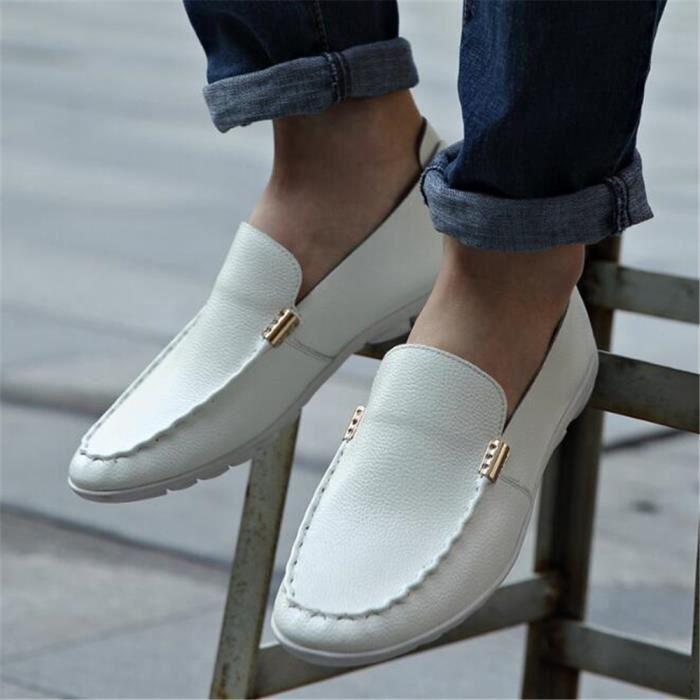 Mocassin Hommes Ete Comfortable Mode Detente Chaussures LLT-XZ75Blanc43