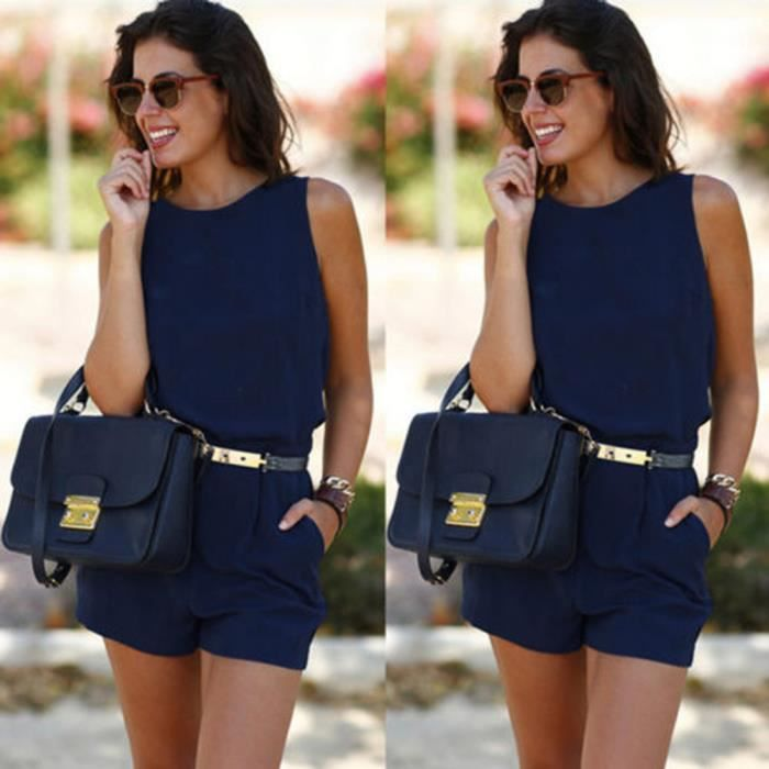 Dames Mini Summer Jumpsuit Cc1545 Jumpsuit Combishort Beach Womens Holiday bleu hxiaoqin Barboteuse eW29YEDHbI