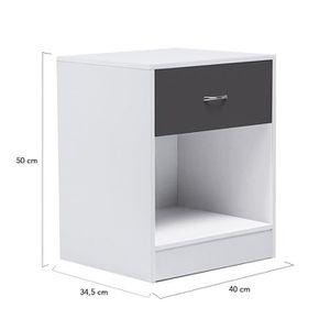 Table de chevet noir et blanc achat vente table de for Tables de chevet blanches